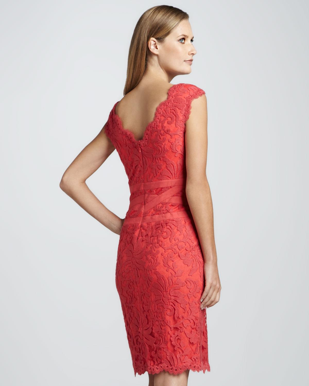 Tadashi shoji Scallopedneck Lace Cocktail Dress in Red  Lyst