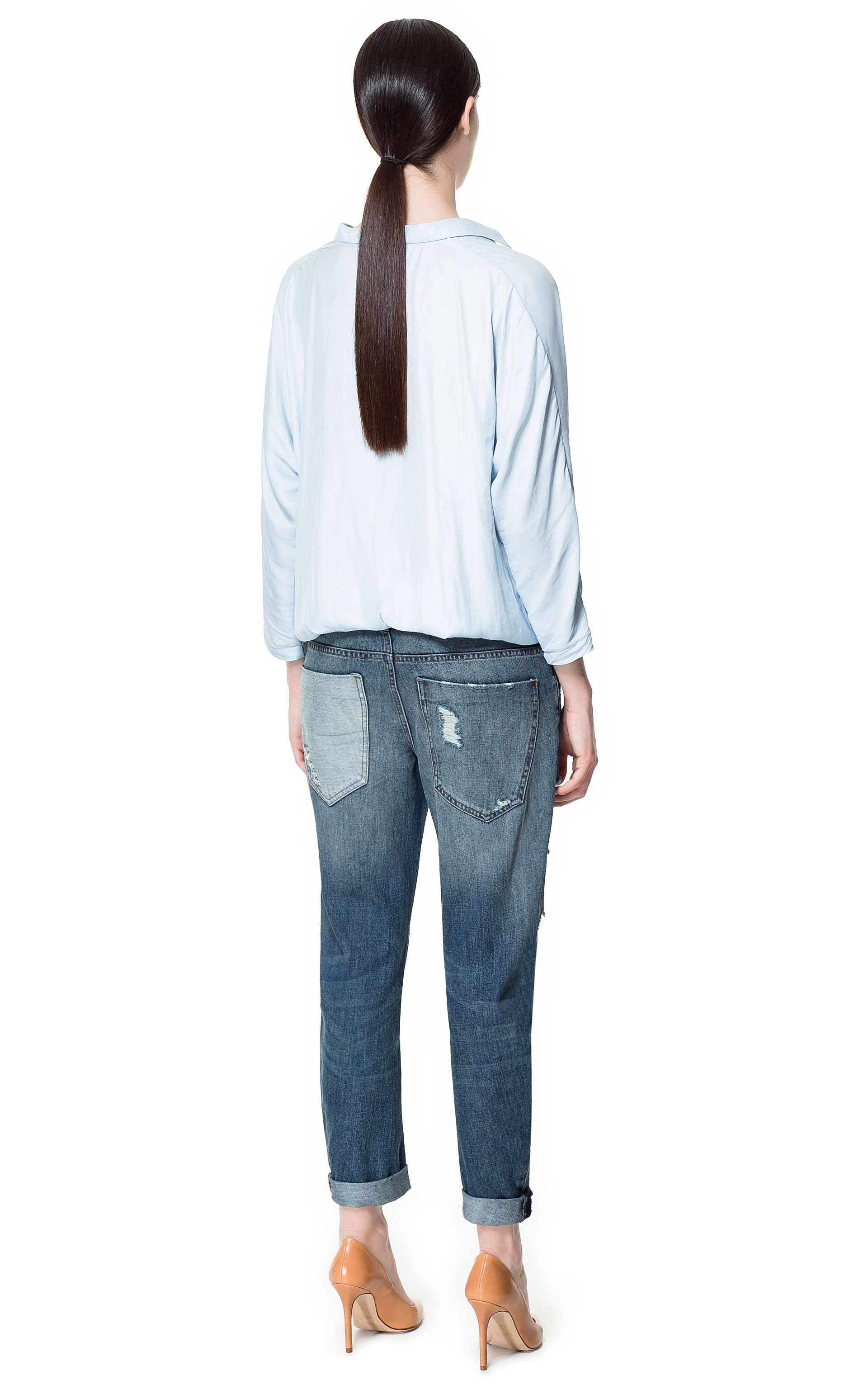zara slim boyfriend jeans in blue lyst. Black Bedroom Furniture Sets. Home Design Ideas