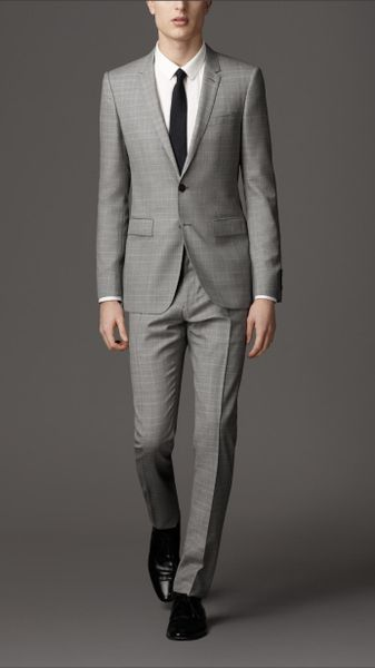 Burberry Modern Fit Virgin Wool Windowpane Check Suit in Beige for Men (pale barley)