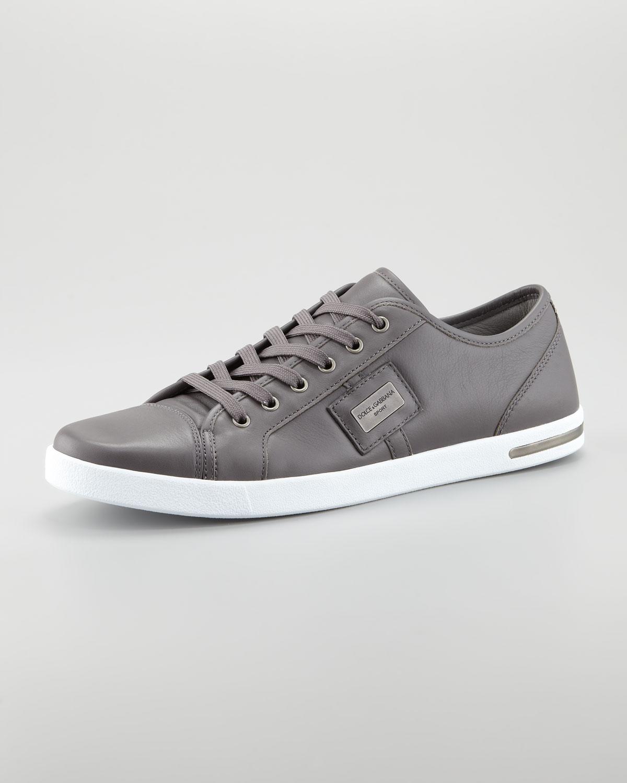 lyst dolce gabbana metal logo sneaker in gray for men. Black Bedroom Furniture Sets. Home Design Ideas