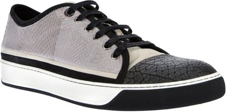 Lanvin Leather Trainer in Gray for Men (grey)