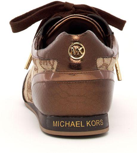 michael michael kors logo metallic sneaker in brown cocoa. Black Bedroom Furniture Sets. Home Design Ideas
