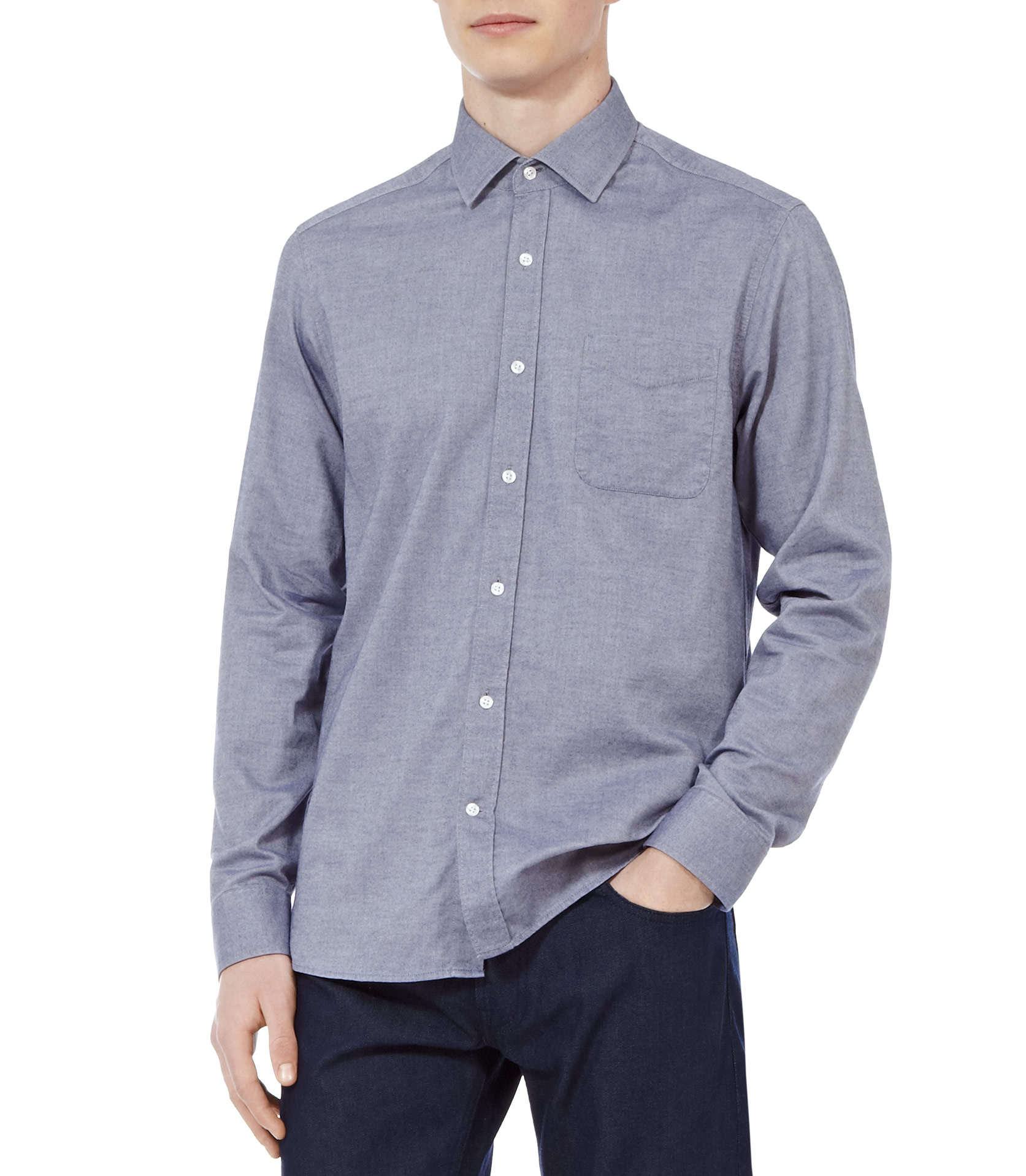 Reiss Pond Soft Chambray Shirt in Blue for Men