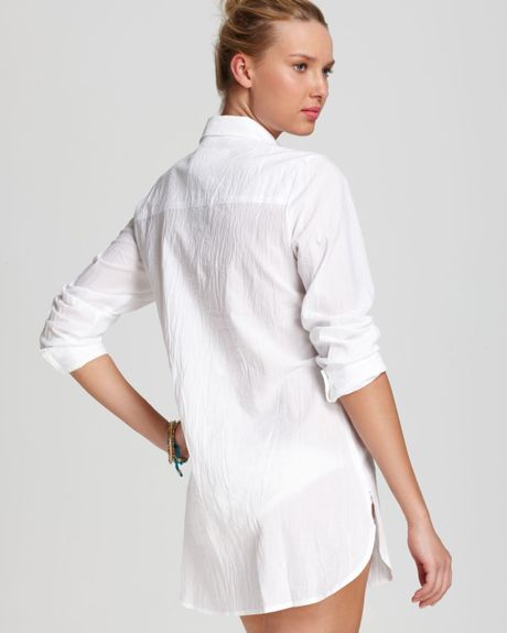 Tommy Bahama Boyfriend Shirt Crinkle Cotton Lawn In White