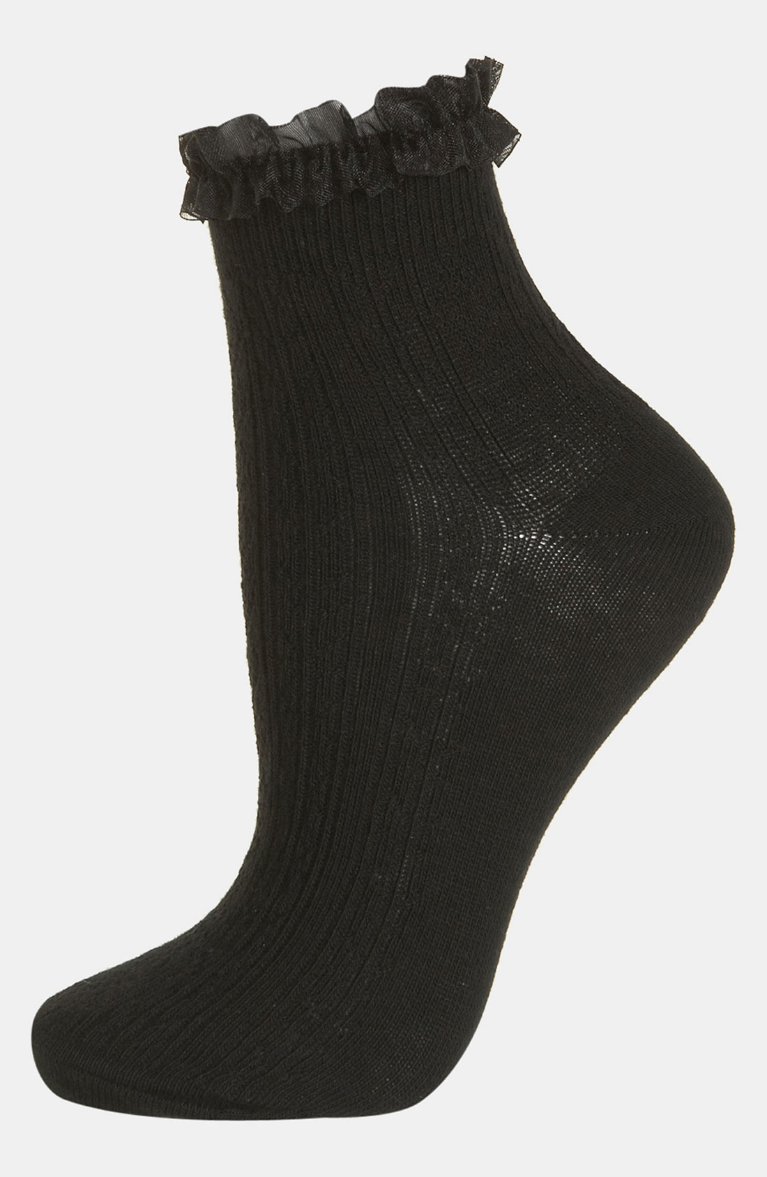 Topshop Black Lace Trim Ankle Socks in Black | Lyst