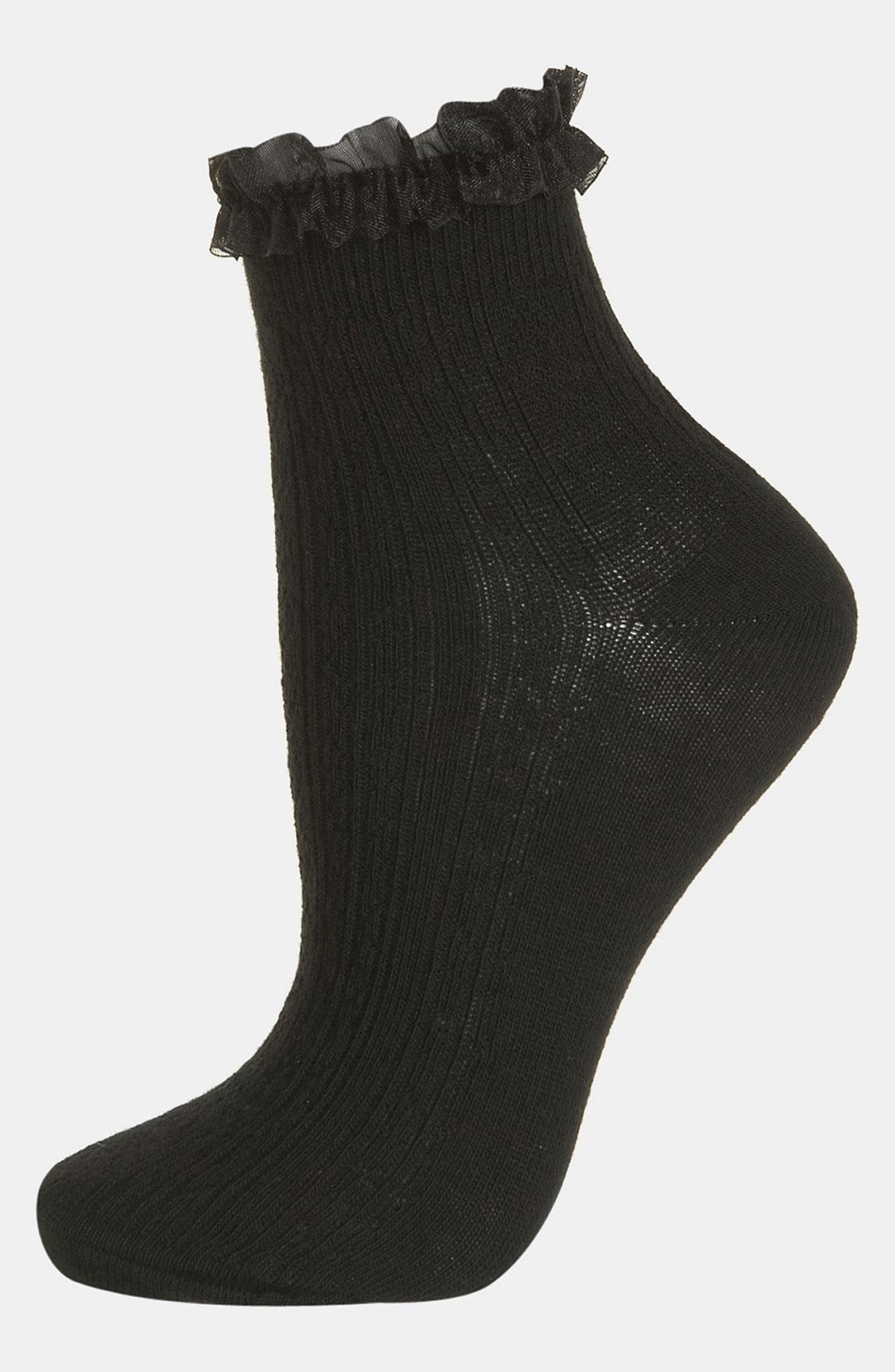 Topshop Black Lace Trim Ankle Socks in Black   Lyst