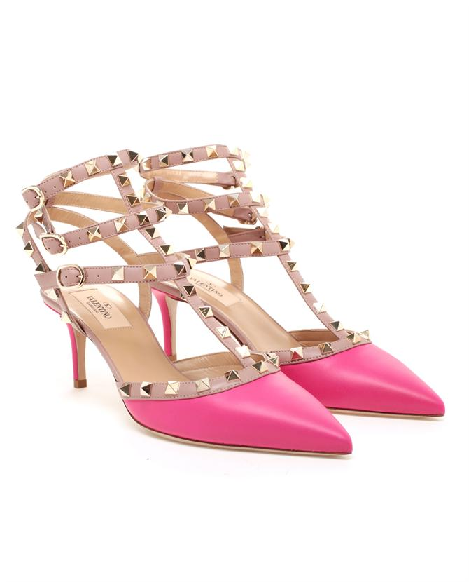 valentino studded leather kitten heels in red pink lyst. Black Bedroom Furniture Sets. Home Design Ideas