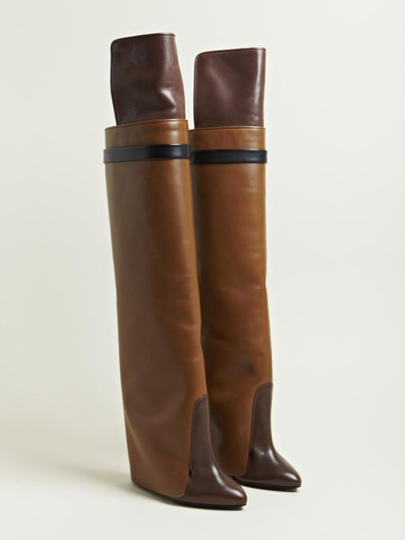 Givenchy Womens Knee High Calf Skin Boots In Brown Lyst