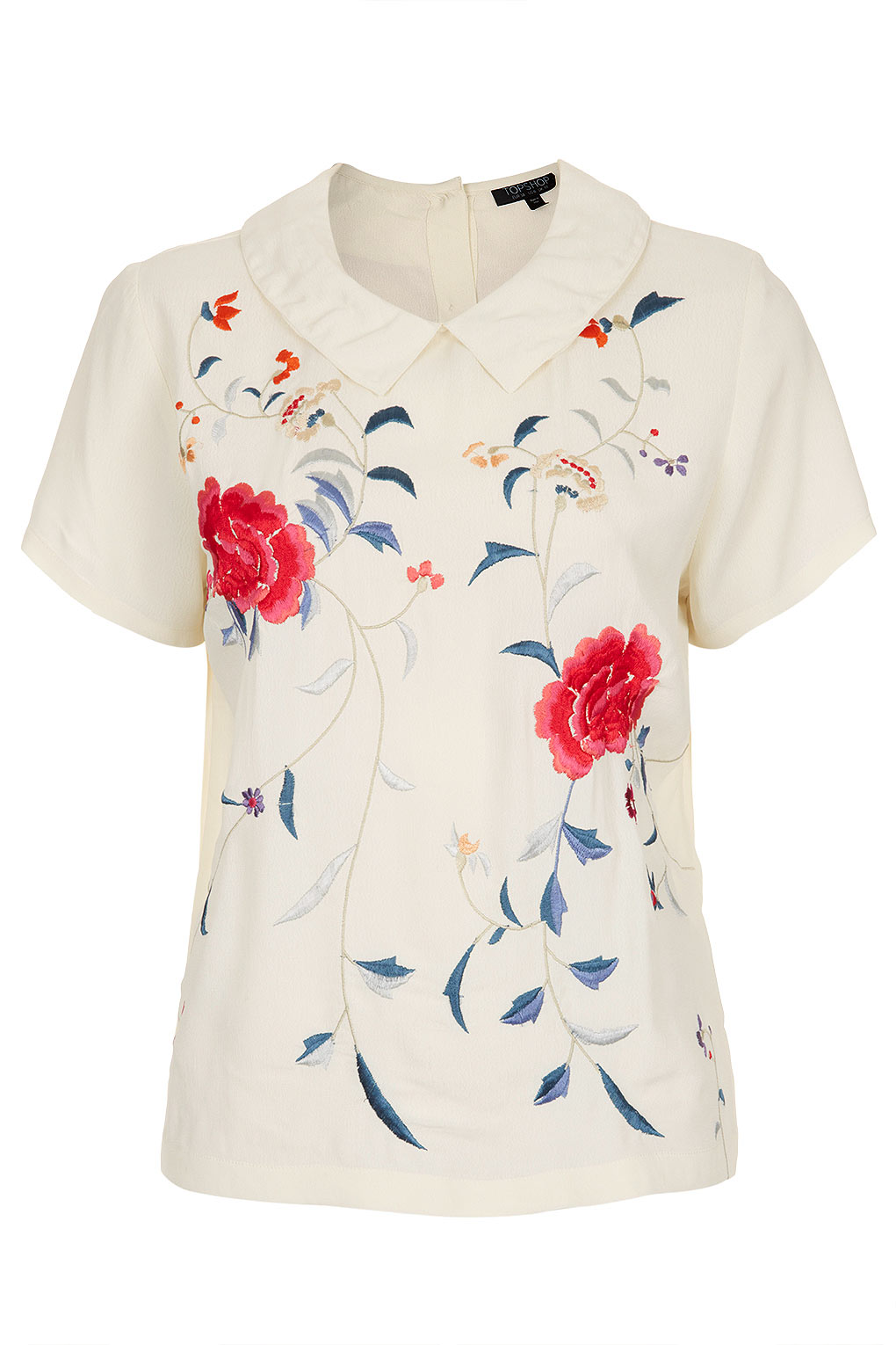 Topshop embroidered floral blouse in white lyst
