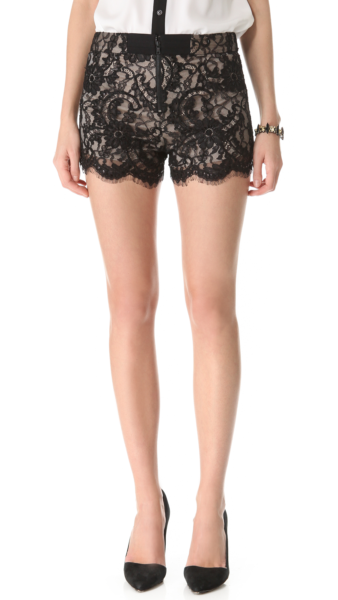 Alice + Olivia High Waisted Lace Shorts in Black
