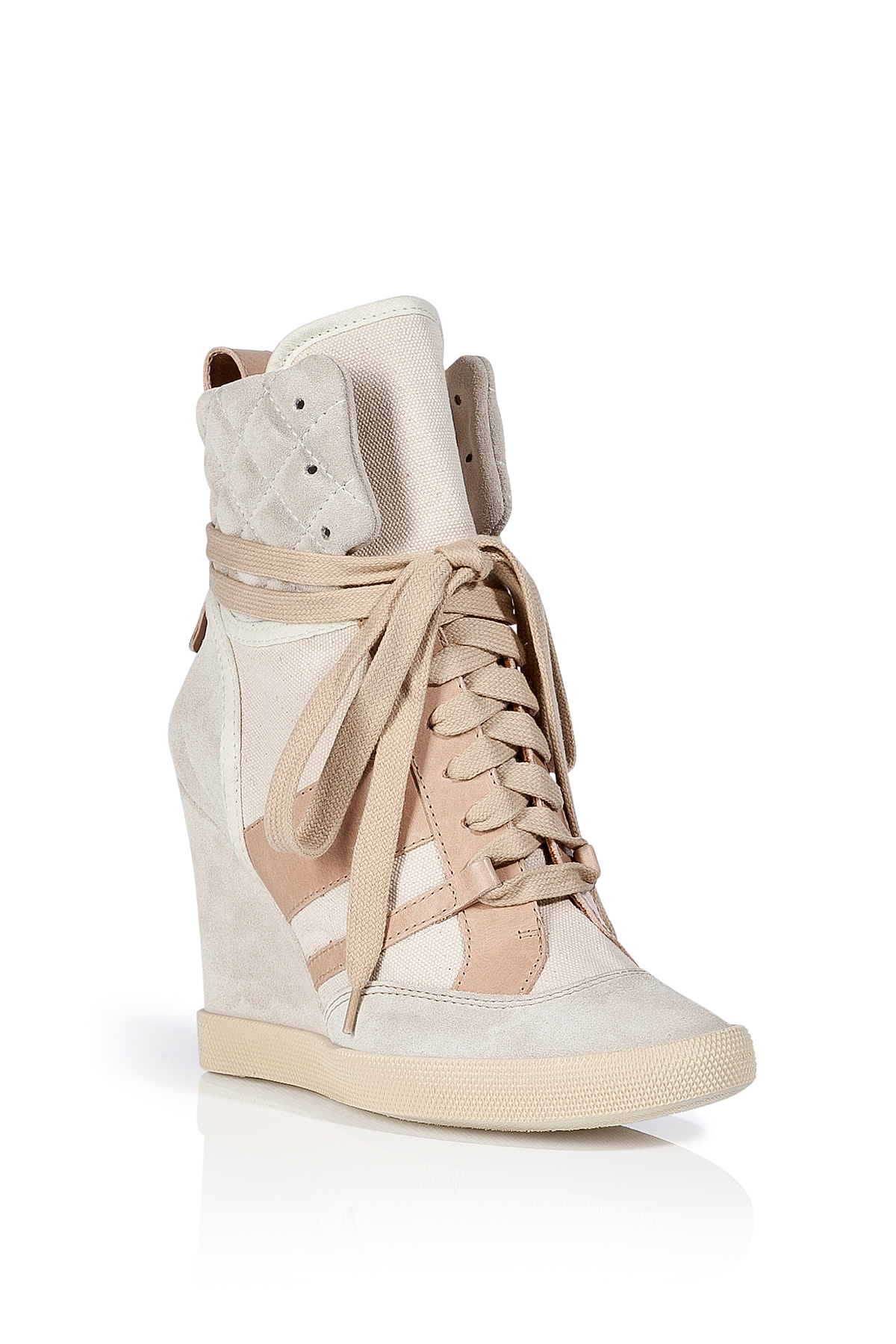 chlo creamblush leathercanvas wedge sneakers in natural lyst. Black Bedroom Furniture Sets. Home Design Ideas