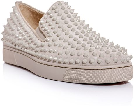 Christian Louboutin Rollerboat Spiked Slipon Trainers in Beige for Men
