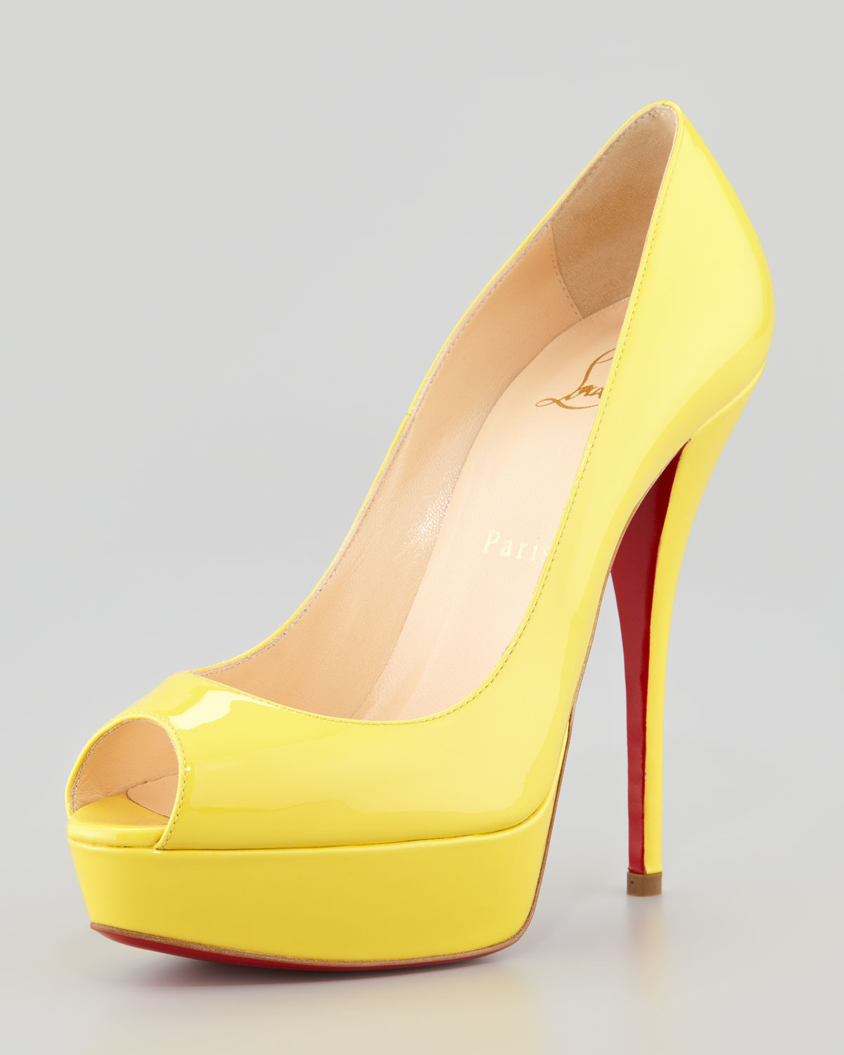 85e388fd9 Christian Louboutin Troca Patent Red Sole Platform Pump in Yellow - Lyst