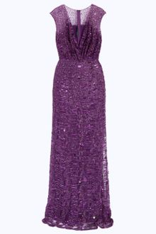 Elie Saab Fully Beaded Mesh Vneck Gown - Lyst