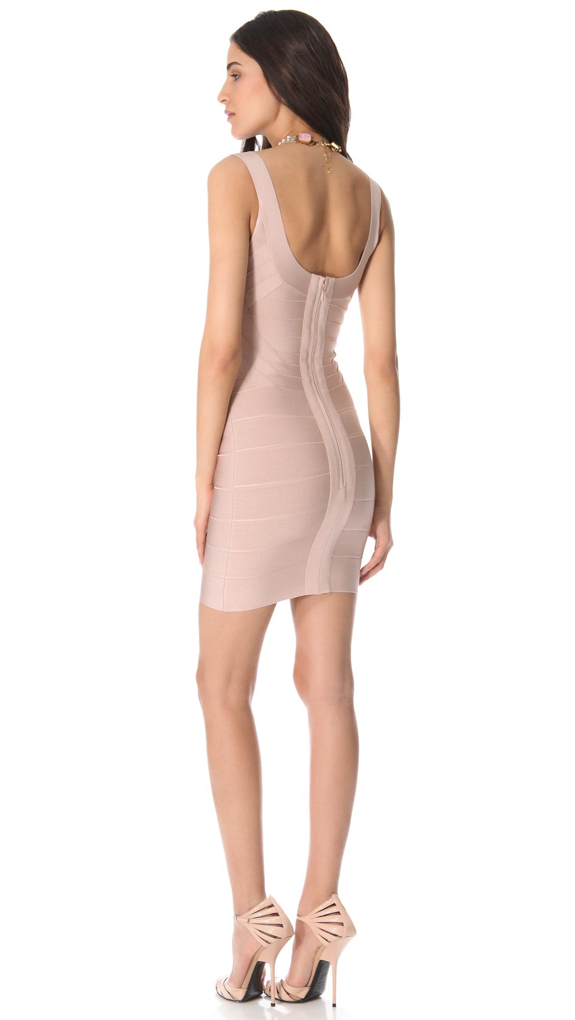 daeffbaf4697 Lyst - Hervé Léger Zeina Sleeveless Dress in Pink