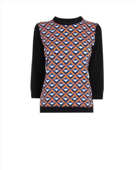 Jaeger Knitting Patterns Free : Jaeger Geometric Print Knit in Pink (orange) Lyst