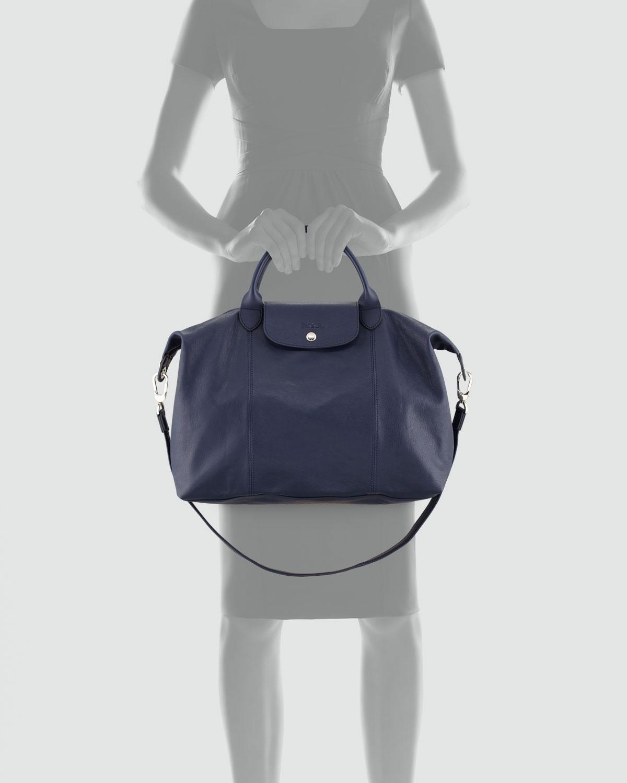 Lyst - Longchamp Le Pliage Cuir Large Tote Bag in Blue 6e5699410d6b1