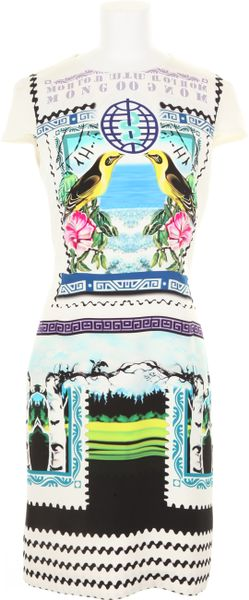 Mary Katrantzou Silk Dress with A Stamp and Banknotes Kaleidoscopic Print in Multicolor (lavender)