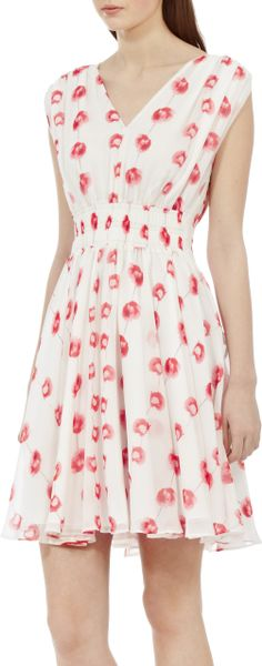 Reiss Lunata Poppy Printed Fit And Flare Dress In