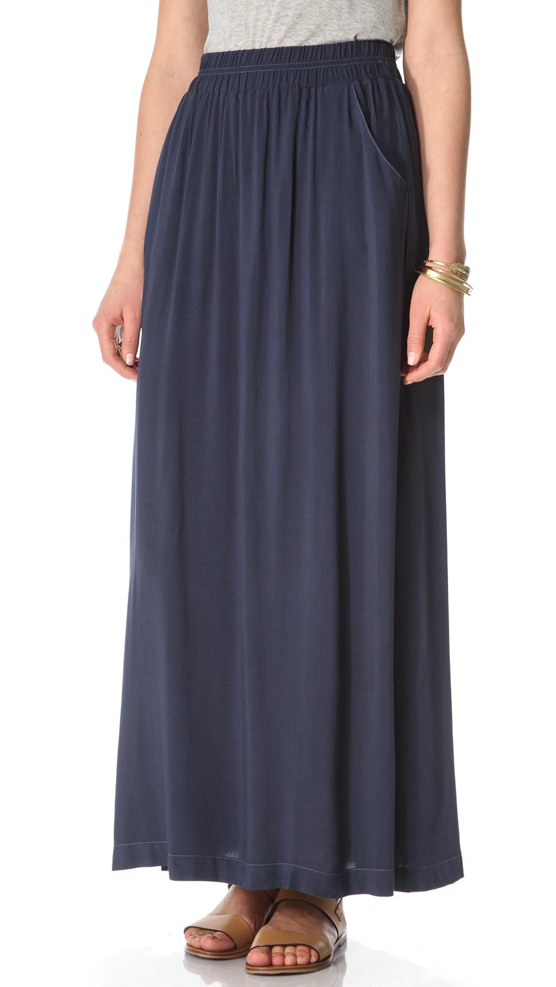 splendid maxi skirt in blue navy lyst