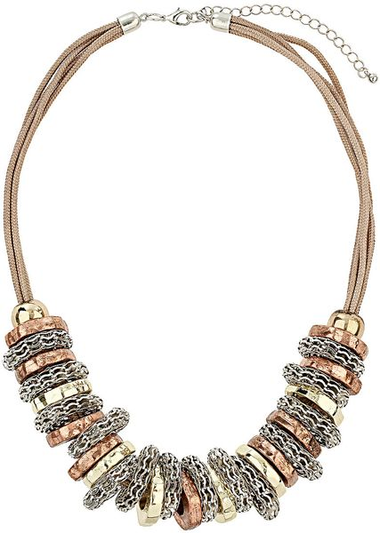 Topshop Bolt Thread Necklace in Multicolor (mixed metal)