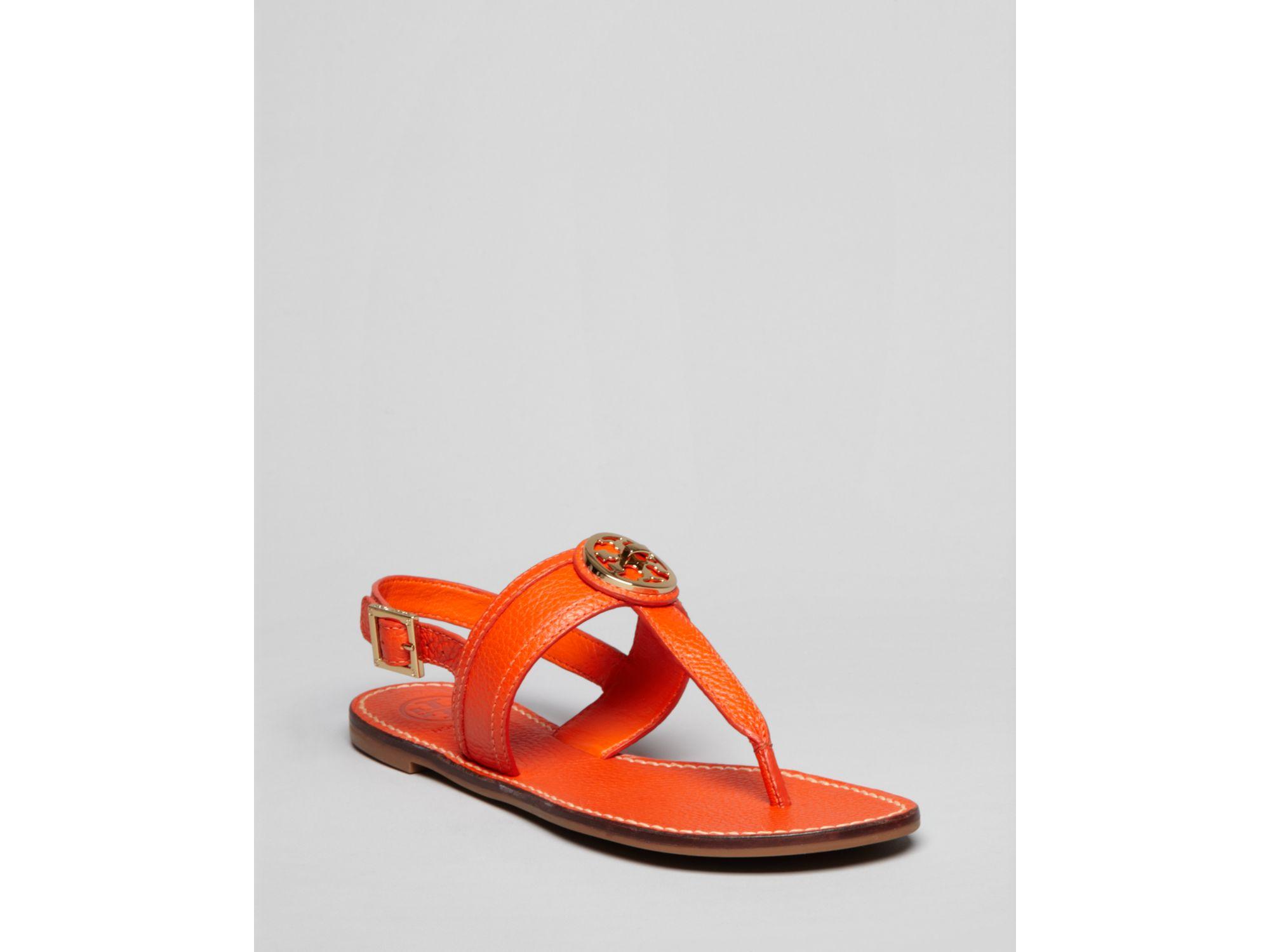Tory Burch Flat Thong Sandals Selma Slingback In Orange ...