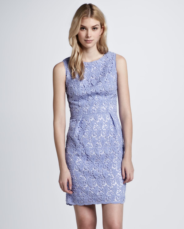 Lyst Shoshanna Sleeveless Lace Sheath Dress In Purple