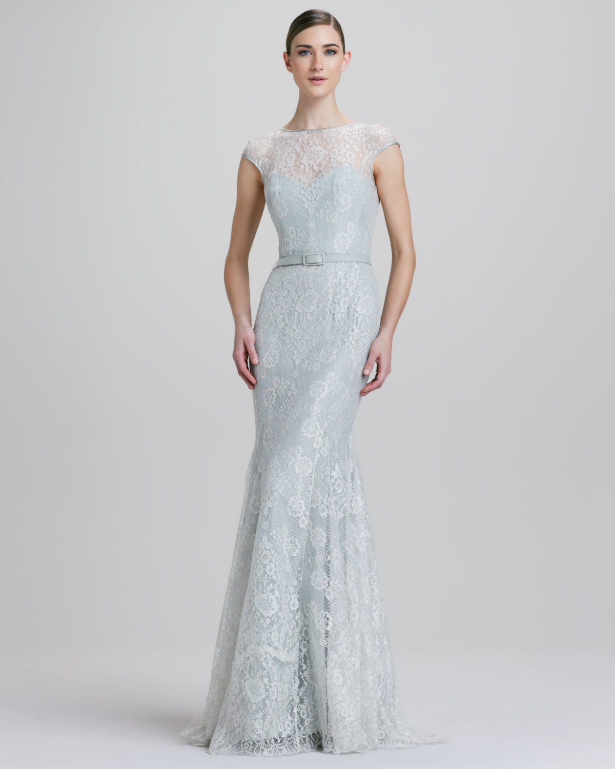 Theia Fitandflare Metallic Lace Illusion Gown In Silver