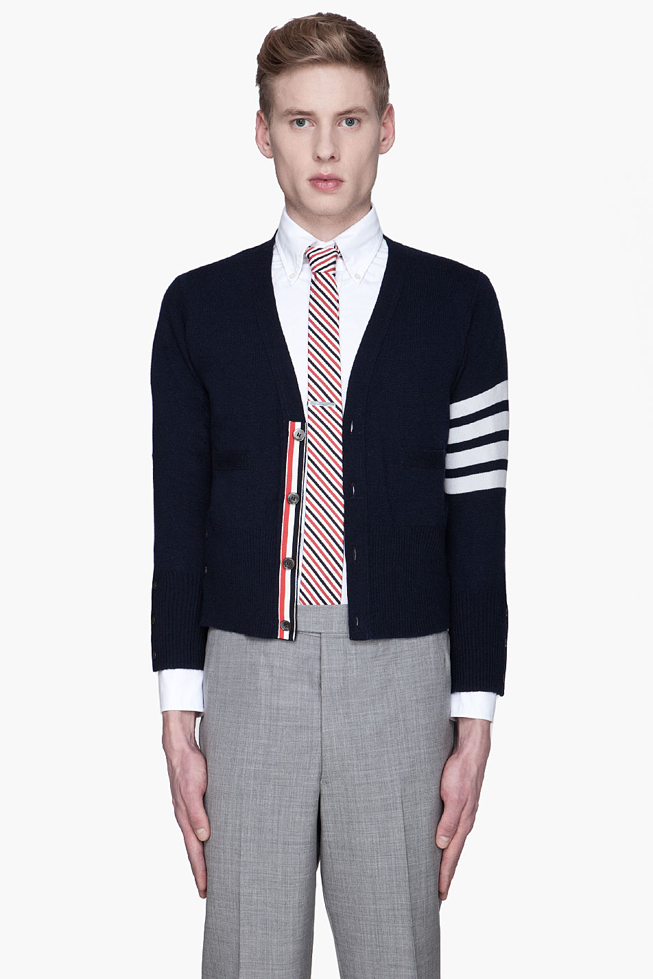 Thom browne Navy Classic Cashmere Cardigan in Blue for Men | Lyst