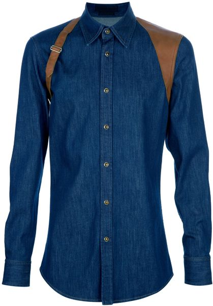 Alexander Mcqueen Buckle Detail Shirt in Blue for Men