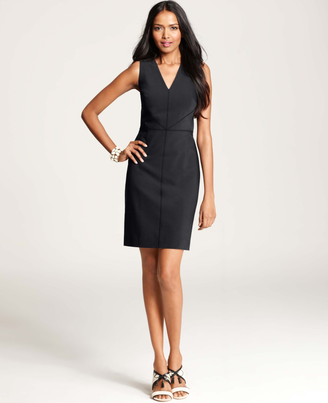 Ann taylor Petite Tropical Wool V-Neck Sheath Dress in Blue | Lyst