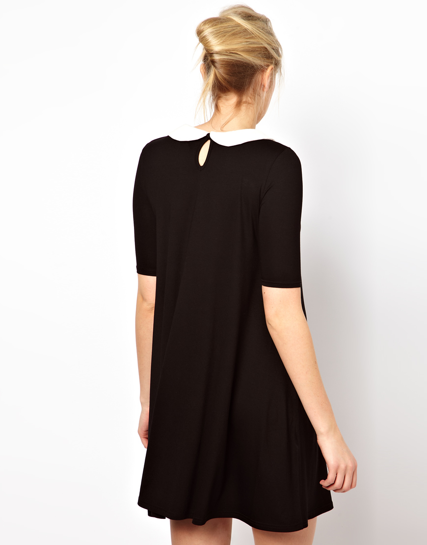 Lyst Asos Swing Dress With Peter Pan Collar In Black