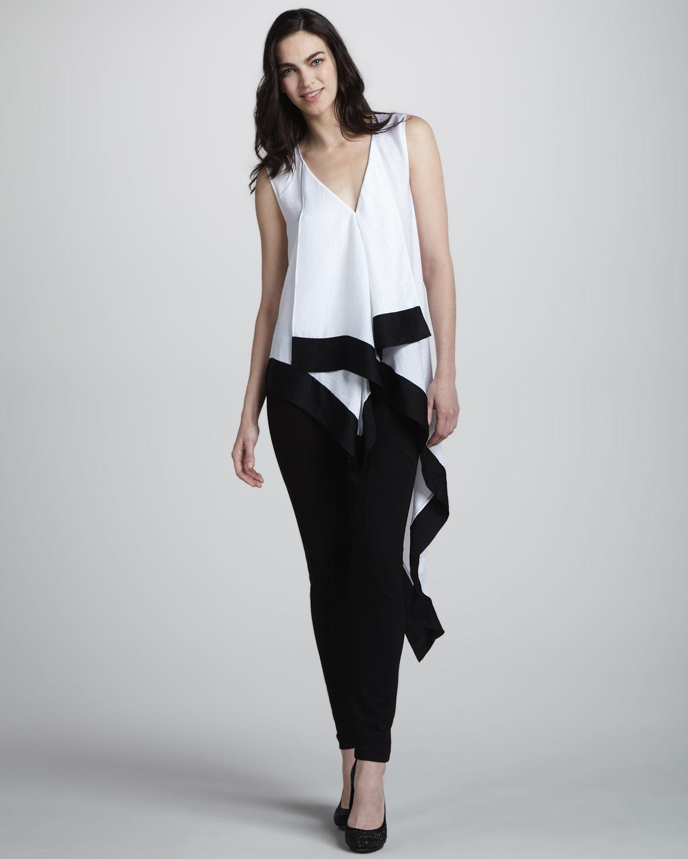lyst bcbgmaxazria draped asymmetric hem top in white. Black Bedroom Furniture Sets. Home Design Ideas
