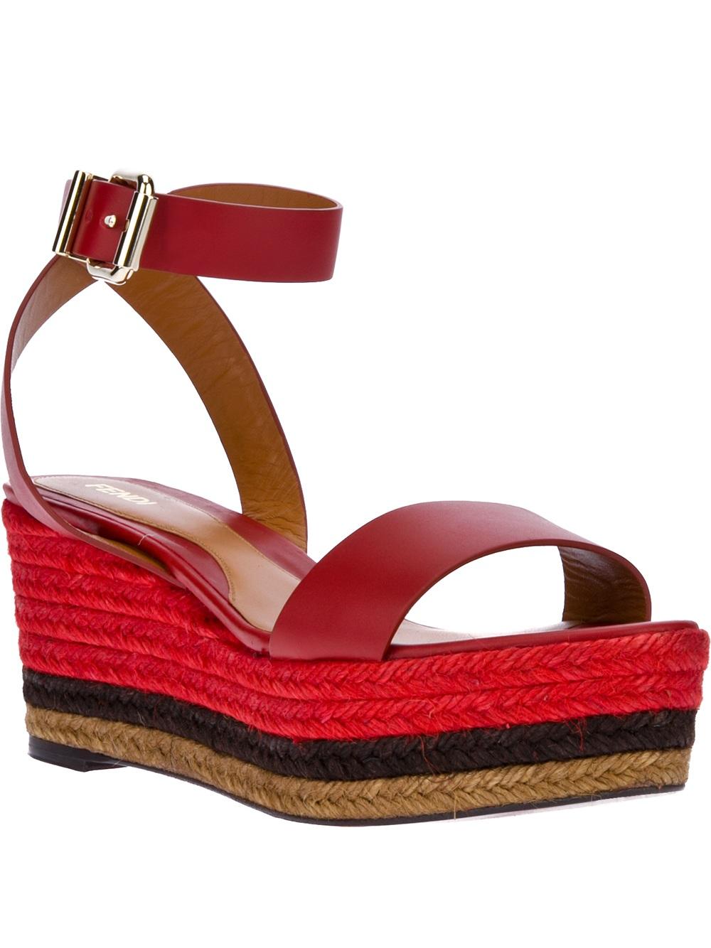Fendi Wedge Sandal In Red Lyst