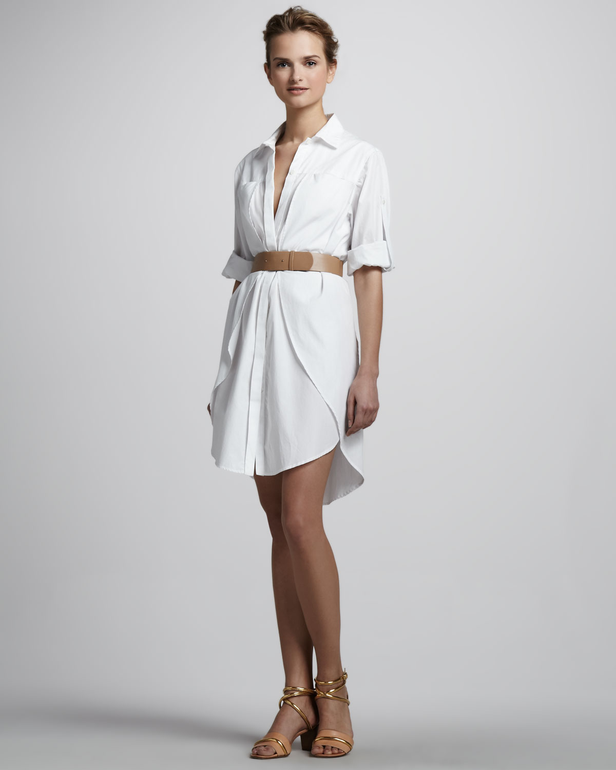 Halston heritage belted shirt dress in white lyst for Halston heritage shirt dress