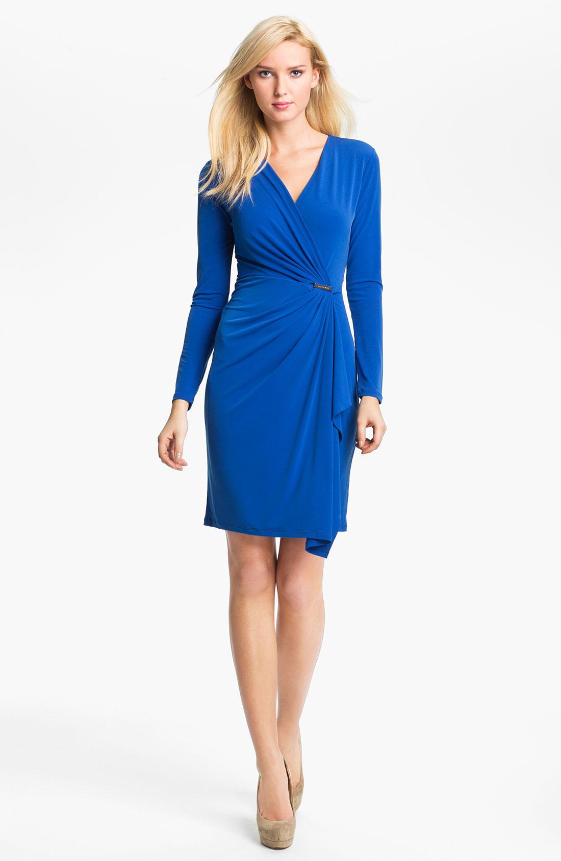 michael michael kors faux wrap dress in blue lyst