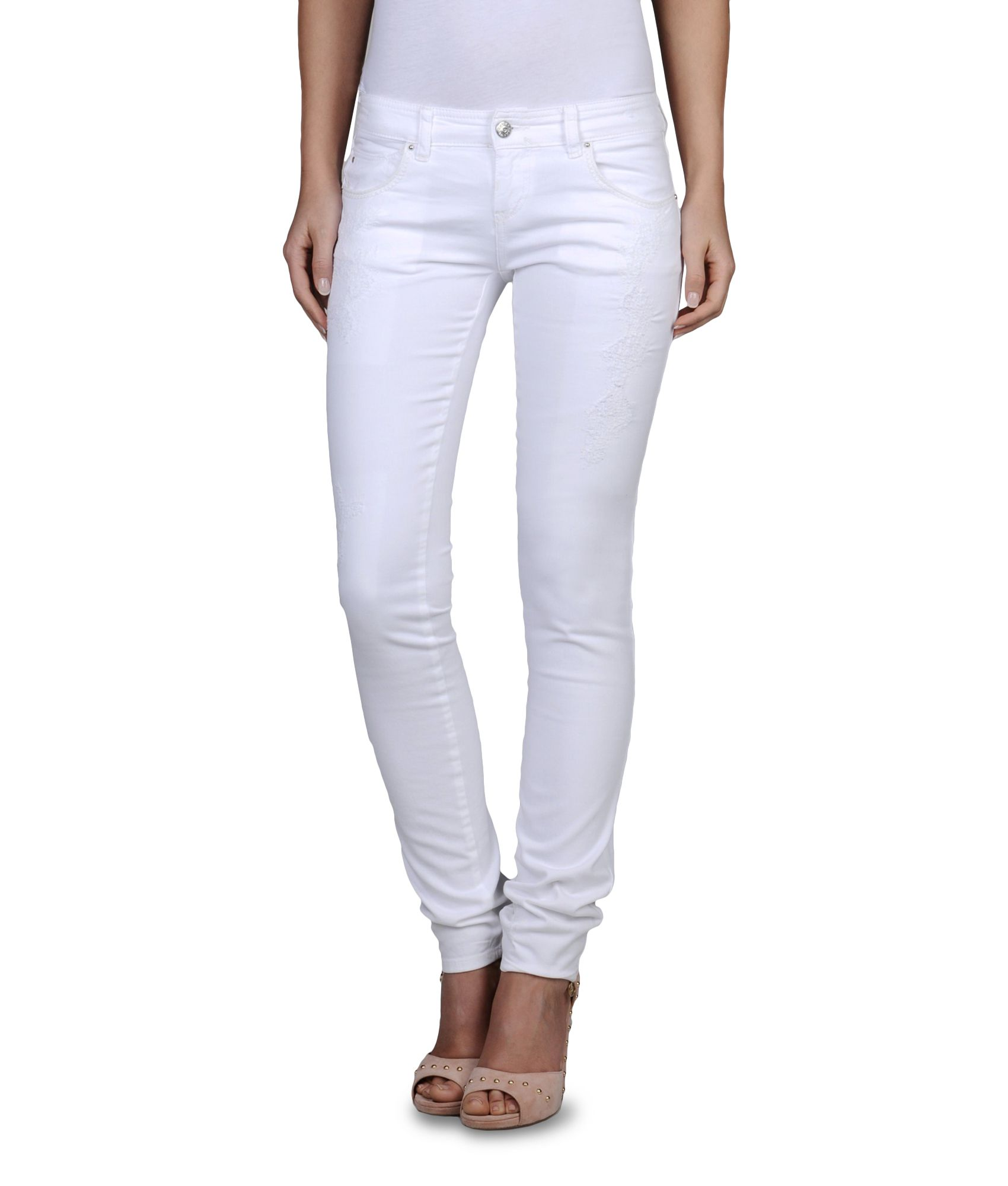 4d03a93eae Lyst - Armani Jeans Stretch Drill Ripped Skinny Jeans in White
