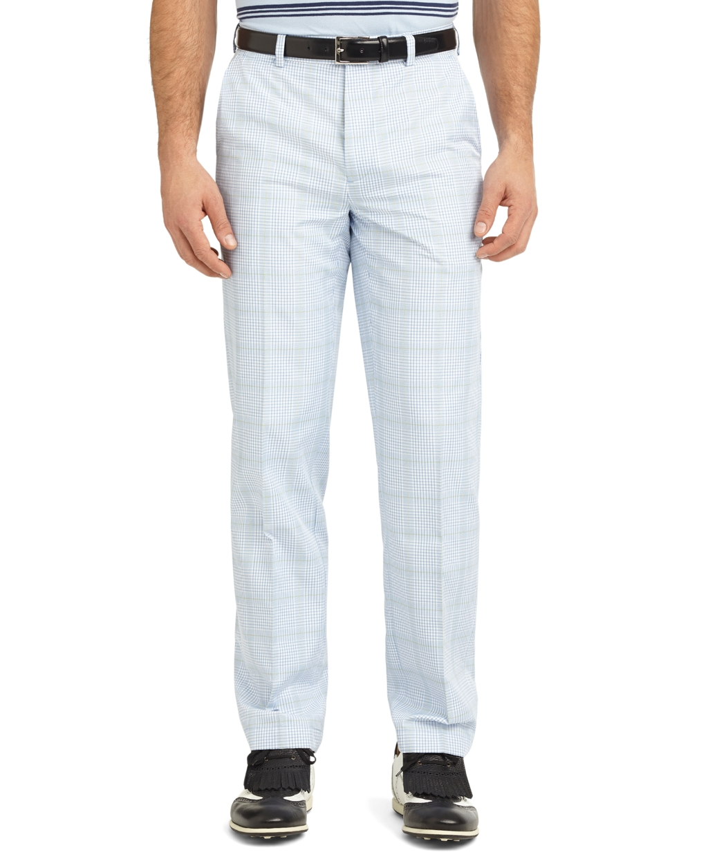 brooks brothers st andrews links plainfront checked mini glen plaid golf pants in blue for men
