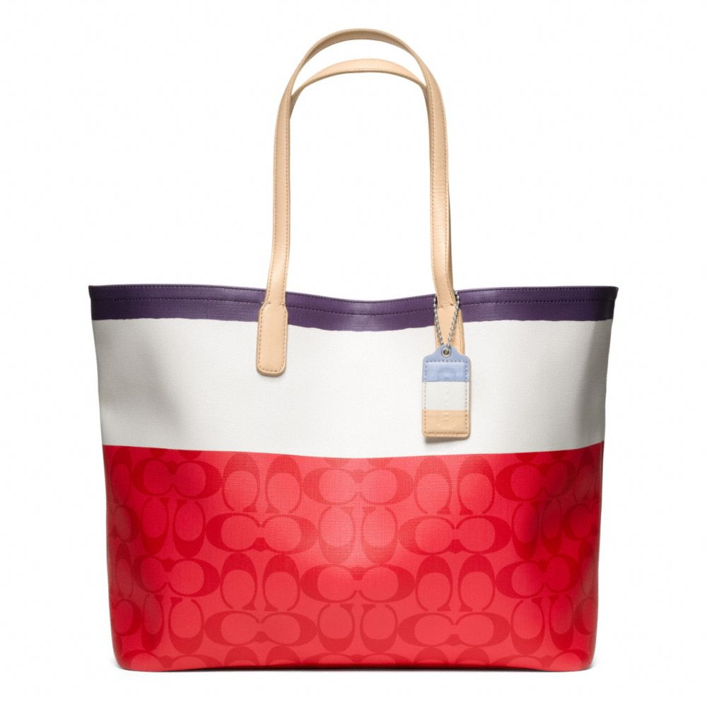 6c71a4c37e ... where can i buy lyst coach legacy weekend painted stripe pvc large  dogleash tote 1efe5 2896b