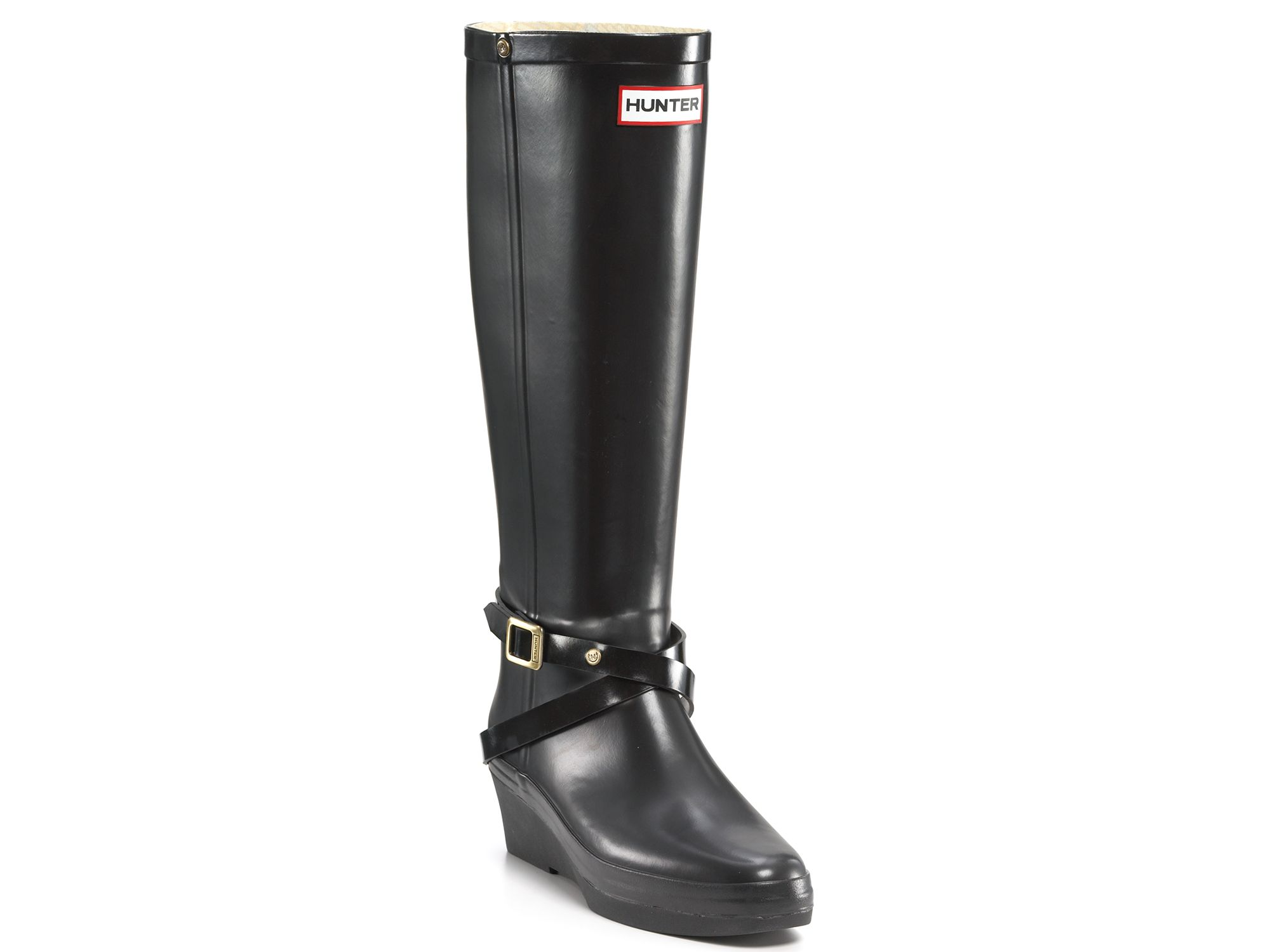 Hunter Andora Wedge Rain Boots in Black | Lyst