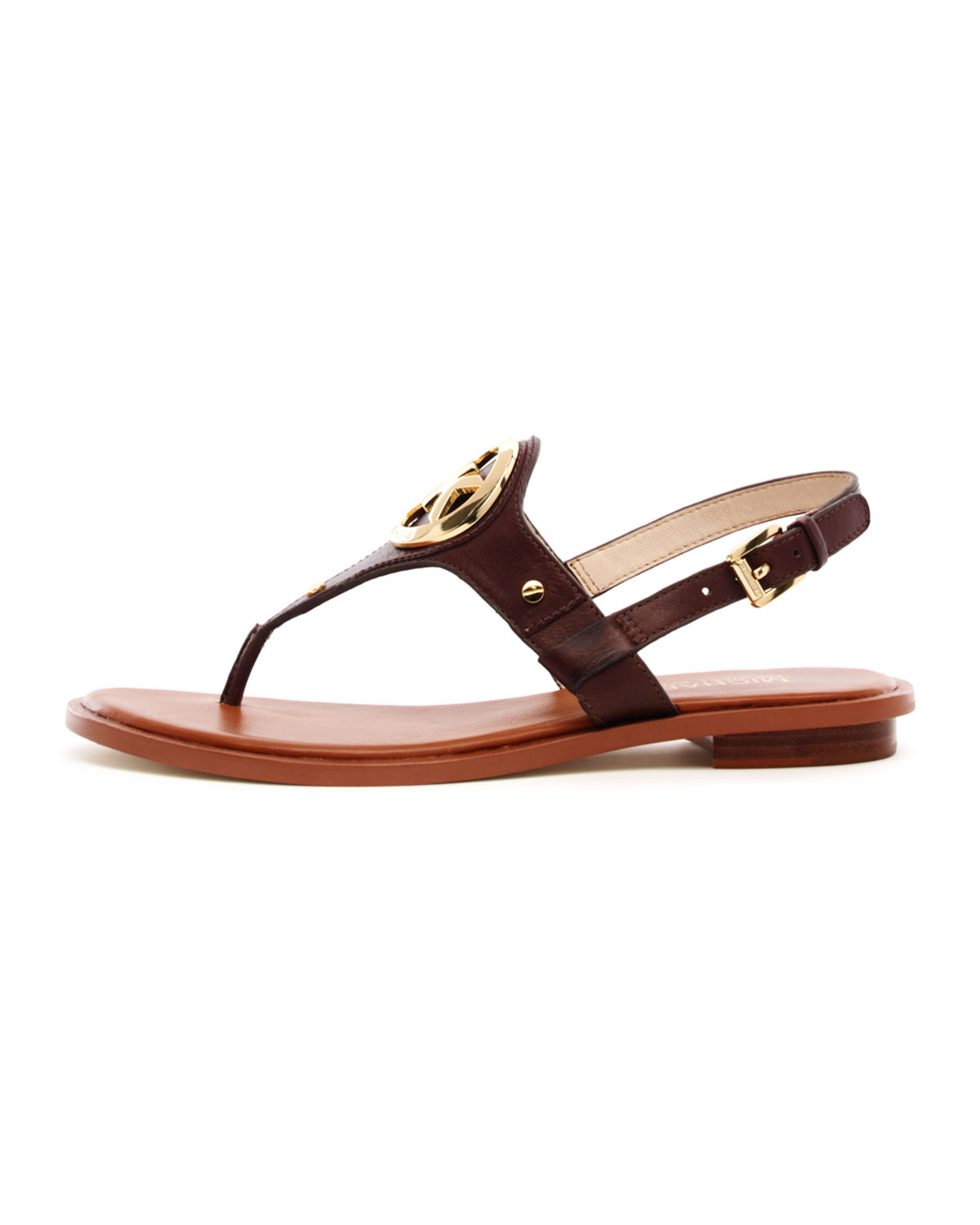 Lyst Michael Kors Aubrey Logo Thong Sandal In Brown