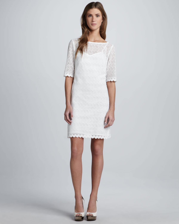 Trina turk Steffi Zigzaglace Dress in White  Lyst