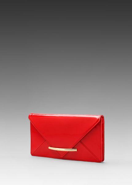Z Spoke By Zac Posen Marlene Oversized Clutch in Red (poppy)