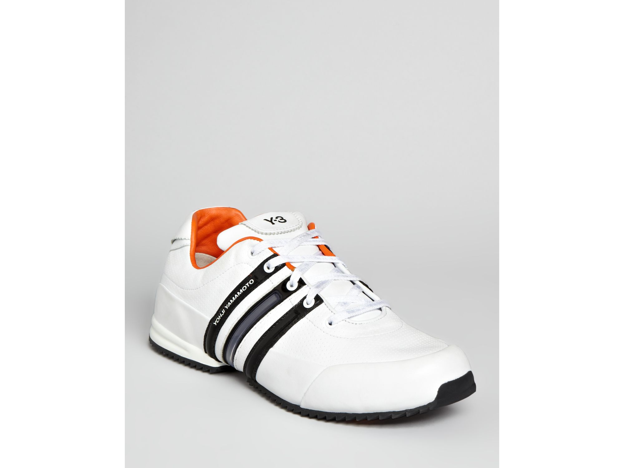 Y 3 Sprint Classic Sneakers in White Black Orange (White