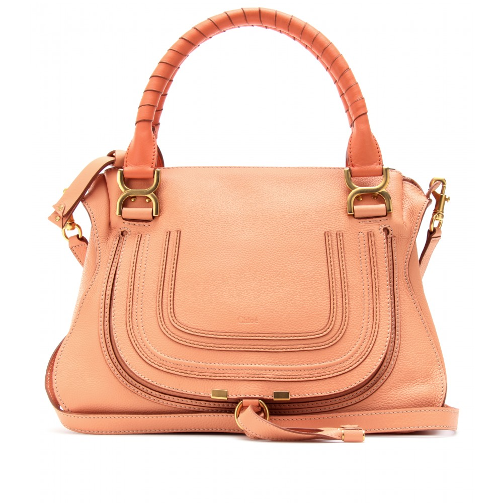 Chlo¨¦ Marcie Medium Leather Handbag in Pink (coral sands) | Lyst