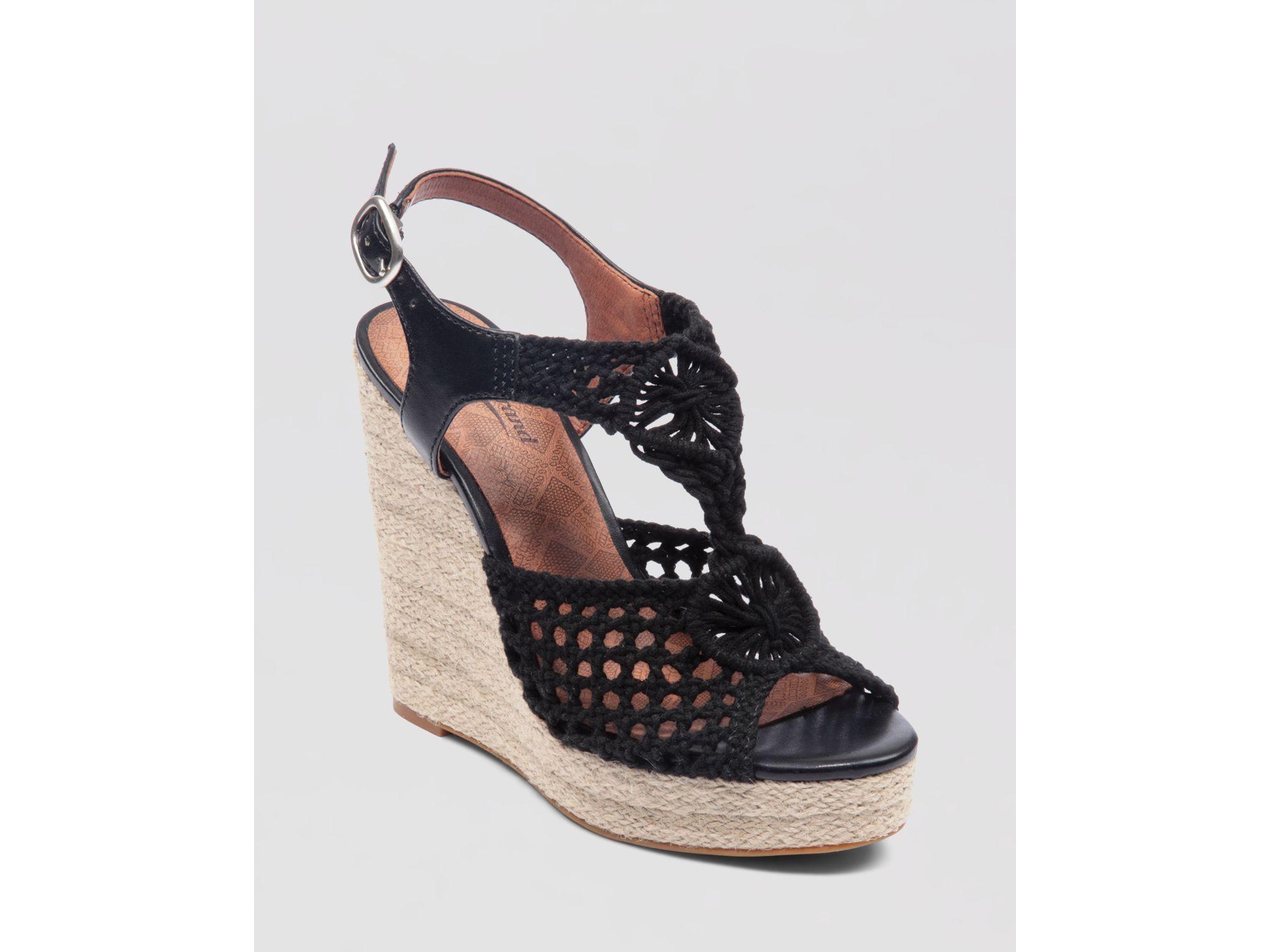 8ea08a932a5 Lyst - Lucky Brand Wedge Platform Sandals Rilo Crochet in Black