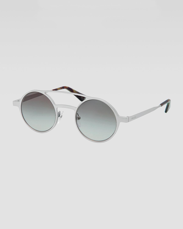 c518bfcb754 ... shopping lyst prada round keyhole sunglasses in gray for men 8b04f 3beae