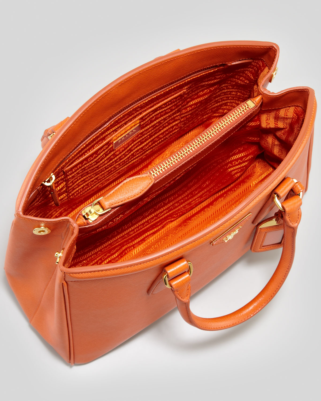Prada Saffiano Parabole Medium Tote Bag in Orange | Lyst