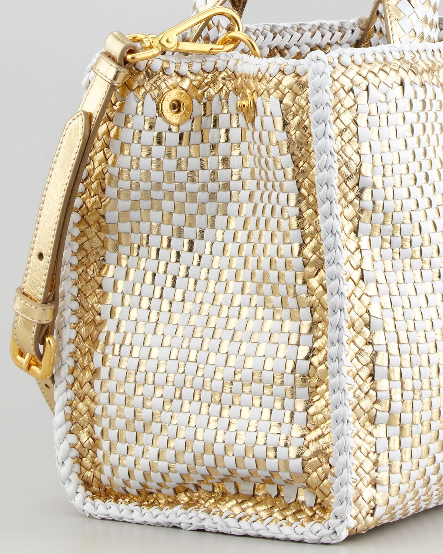 Prada Twotone Madras Small Tote Bag in White (white/gold) | Lyst