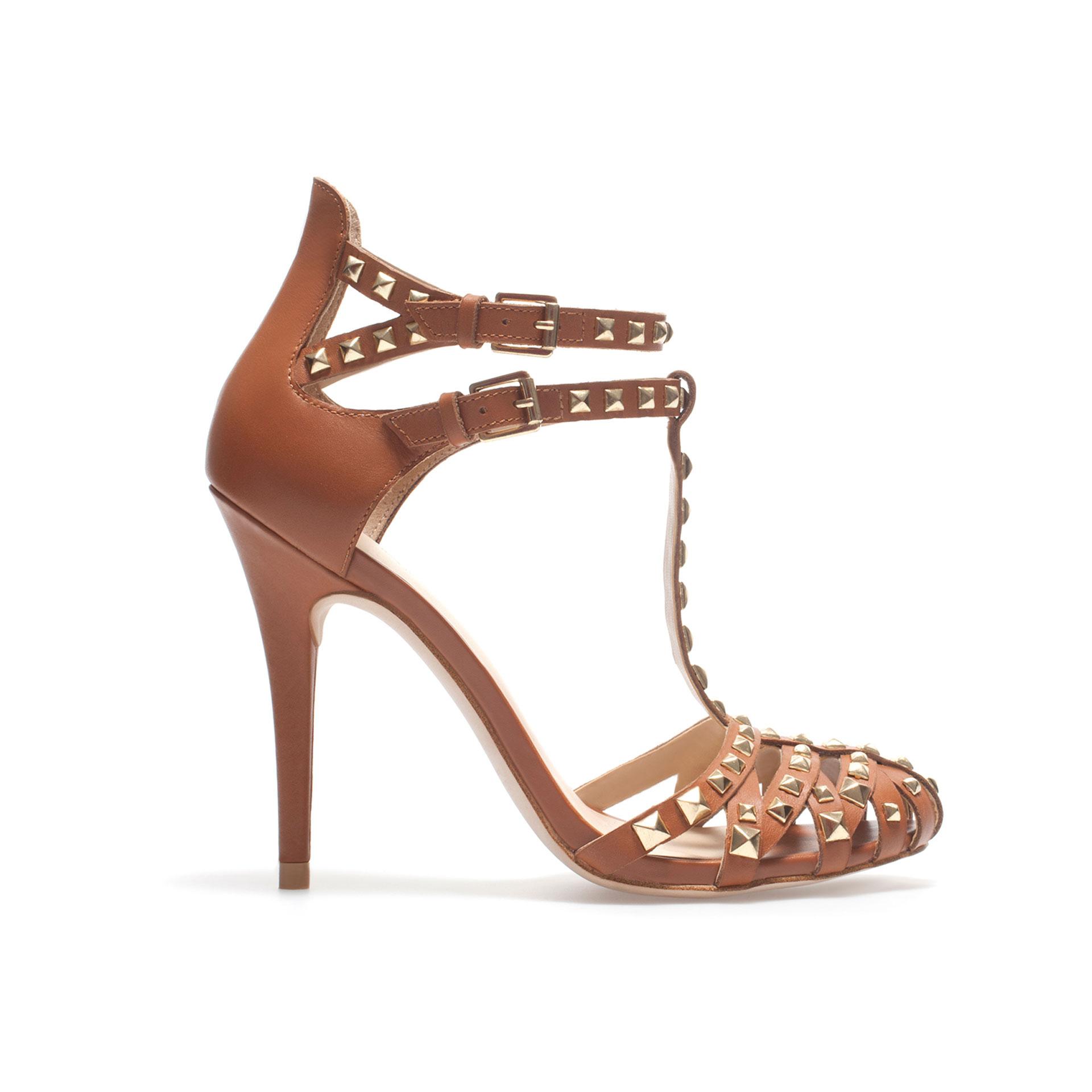 zara studded high heel sandal in brown leather lyst. Black Bedroom Furniture Sets. Home Design Ideas
